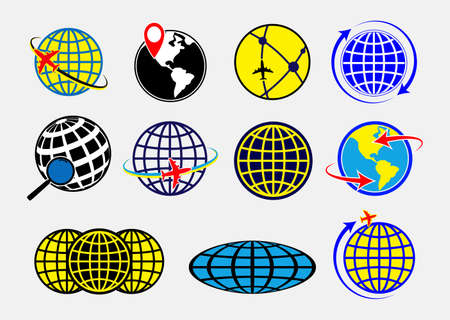 set of world globe earth icon or globe geographic planet icon or airplane globe   concepts. easy to modify