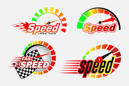 set of speed  or speedometer symbol or speed race  concept. easy to   modify