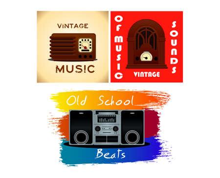 Set of old vintage radio transistor time line. easy to modify