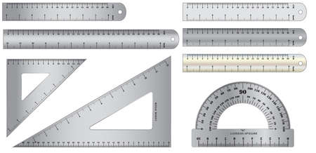 set of realistic metal ruler in metal, plastic and wooden concept. easy to modify