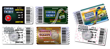 Set of cinema tickets in various color. easy to modify Çizim