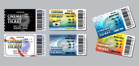 Set di biglietti del cinema in vari colori. facile da modificare Vettoriali