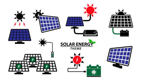 set of green energy icon or solar panel icon concept. easy to modify