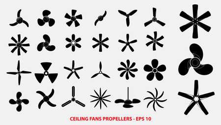 conjunto de hélices o ventiladores de techo hélices o concepto de hélices de motor. fácil de modificar Ilustración de vector