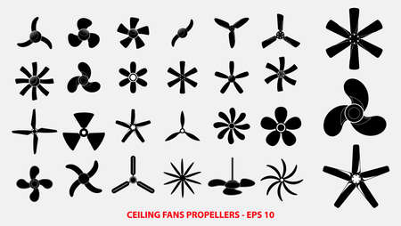 set di eliche o eliche di ventilatori a soffitto o concetto di eliche del motore. facile da modificare Vettoriali