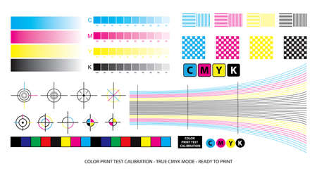color mixing scheme or color print test calibration concept. easy to modify Ilustracja