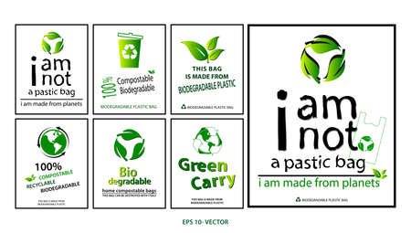 green bag concept or biodegradable plastic, compostable and recycleable   concept. easy to modify