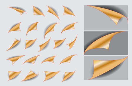 set of paper curls with realistic shadow or curled corners blank empty book or   curved page fold concept. easy to modify