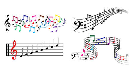 set of musical annotations or music note elements concept. easy to modify Çizim