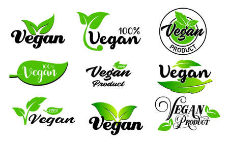 set of vegan signs or green vegan label or green natural badges product concept. easy to modify