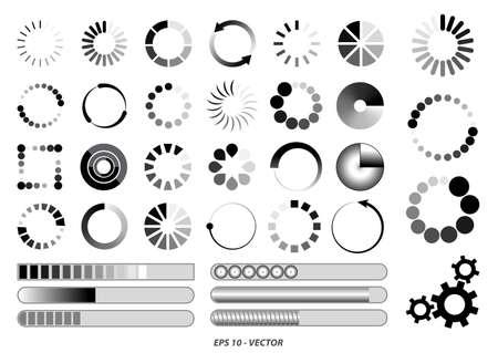 set of loading bar icon or black white preloader illustration or loading sign   for internet download or bar game progress loading concept. easy to modify Çizim