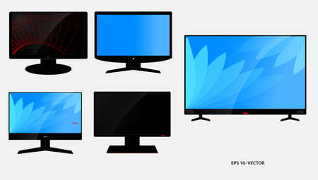 set of lcd tv flat screen or black tv frame or modern blank screen mockup   television concept. easy to modify Çizim