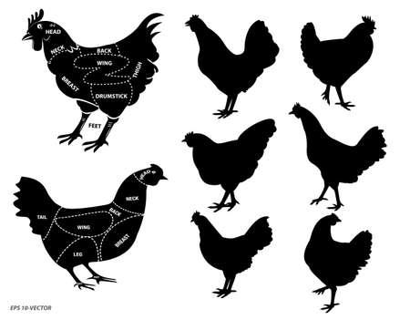 kurczak sylwetka lub schemat rzeźnika lub część koncepcji rzeźnika kury. łatwe do modyfikacji Ilustracje wektorowe