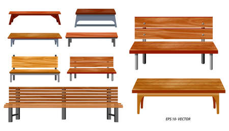 set of realistic bench wood garden or street bench seat or bench cartoon. easy   to modify Çizim