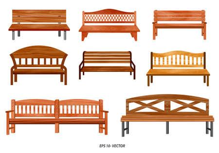 ensemble de banc réaliste de jardin en bois ou de banc de rue ou de dessin animé de banc. facile à modifier