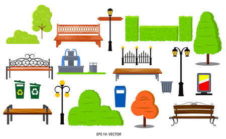 set of realistic bench wood garden or street bench seat or bench cartoon. easy to modify