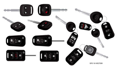 set of realistic car key with alarm system or car key with remote control or car remote secure system concept. easy to modify Çizim