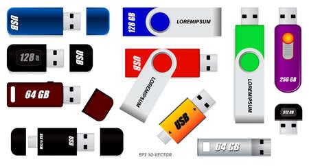 set of various flash drive or set of usb flash drive or colorful flash drive   isolated on white background Çizim