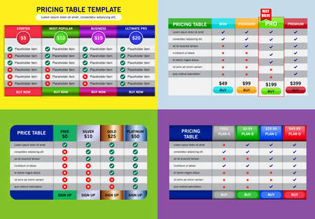 set of business price plan or comparsion table price chart or banner of tariff   plan concept. eps 10 vector - easy to modify Çizim