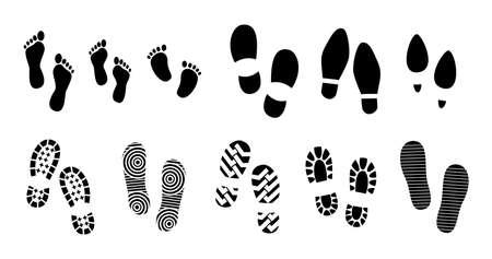 zestaw czarnych ludzkich śladów lub ludzkiej podeszwy buta lub śmieszne ślady łapy. łatwe do modyfikacji Ilustracje wektorowe