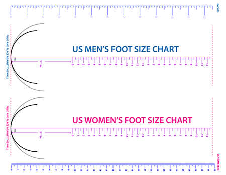 set of shoes chart size or socks chart size or measurement foot chart concept.