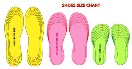 set of shoes chart size or socks chart size or measurement foot chart concept. Vector Illustration