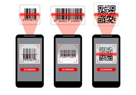 set of various bar code or set of packaging label bar code or qr codes. eps 10, easy to modify Çizim