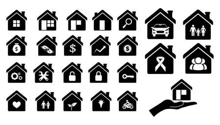 set of home icon or pictogram home concept. easy to modify  イラスト・ベクター素材