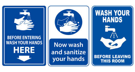 set of mandatory sign or warning sign corona virus poster or 2019-ncov viruses, wash your hand sign concept. eps 10 vector, easy to modify