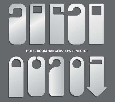 Set of hotel room hangers template or do not disturb information or template   label hotel concept. eps 10 vector, easy to modify Ilustração
