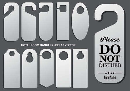 Set of hotel room hangers template or do not disturb information or template   label hotel concept. eps 10 vector, easy to modify 矢量图像