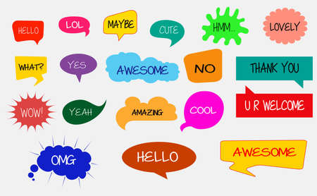 set of bubble talk comic style or questions bubble colorful or funny speaking bubble in doodle concept. eps 10 vector, easy to modify