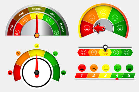 set of score indicators or rating meter level or gauge speedometer indicator   concept. eps 10 vector, easy to modify