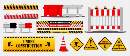 set of road barrier or under construction warning or barricade block highway   concepts. eps 10 vector, easy to modify