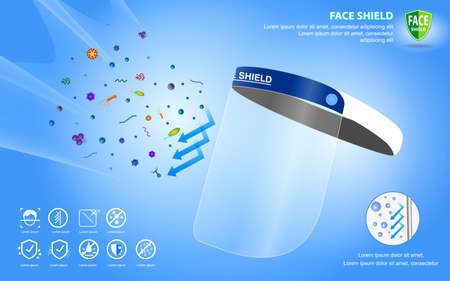 set of face shield medical protection or portable face shield waterproof or personal protective equipment medical kit concept. vector, easy to modify