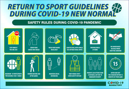 The sport guidelines safety rules poster or public health practices for covid-19 Vettoriali