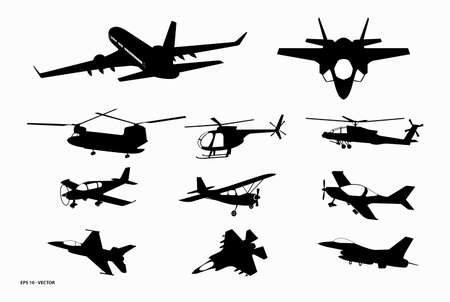 set of airplane silhouette or various black airplane silhouette. eps 10 vector, easy to modify