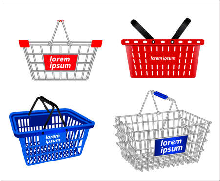 set of small shopping basket or wire shopping basket or metal container shopping basket. eps 10 vector, easy to modify Vecteurs