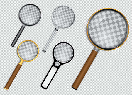 set of realistic magnifying glass or magnifying glass on transparent background concept. vector, easy to modify