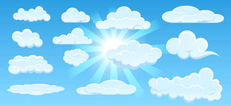 set of clouds panorama with clean bright sunshine or blue clean clouds weather or blue cottony sky with bright sun concept. eps 10 vector, easy to modify Vettoriali