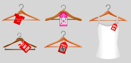 set of clothes hangers or clothes hangers isolated on white background or illustration of clothes hangers black white style.   vector, easy to modify  イラスト・ベクター素材