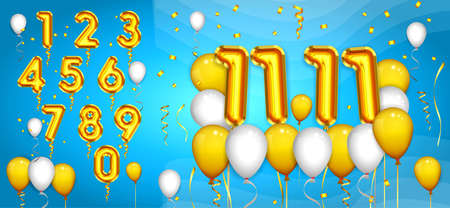 set of realistic number balloons or golden number latex balloons party or helium balloons birthday and confetti concept. eps 10 vector, easy to modify