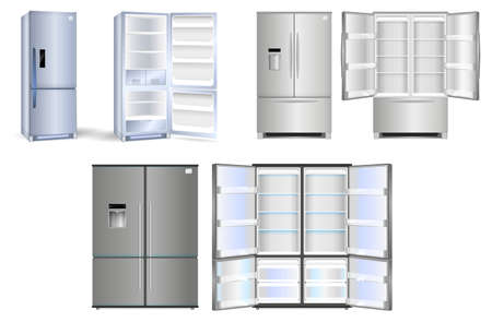 set of realistic refrigerator with one door or open refrigerator with two doors full of food vegetable meat fish or fridge refrigerator mock up. eps 10 vector, easy to modify