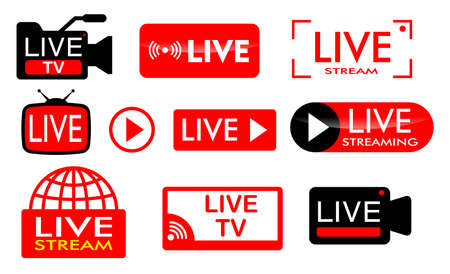 set of live streaming icon or live broadcasting online concepts.easy to modify