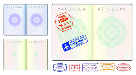 set of realistic blank passport pages or empty passport with watermark and stamps or open foreign passport pages. vector, easy to modify Vector Illustration
