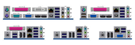 set of realistic motherboard form factor isolated or various motherboard desktop personal computer or standart atx, micro atx, mini atx, nano atx, pico atx concept Vetores