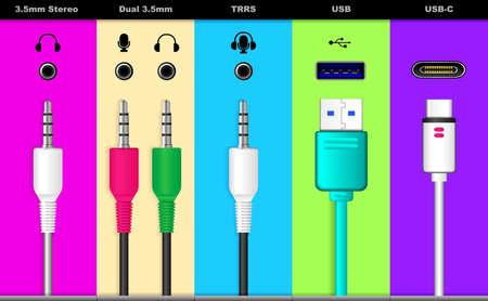 set of realistic audio connectors isolated or various audio jack plug for sound system or usb universal audio connector symbols concept. Vektoros illusztráció