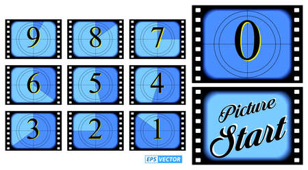 set of film countdown frame isolated or creative counted down numbers vintage style or old retro movie beginnings count concept. vector