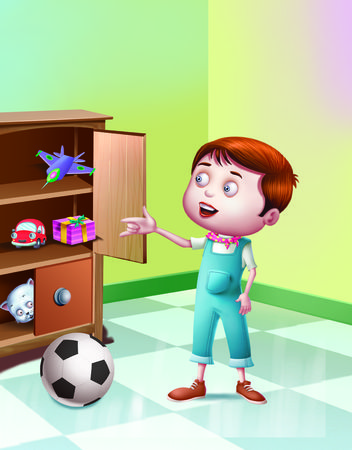 rhyme: ABCIt is an alphabetical rhyme in which the boy is saying that the cat is hiding in the cupboard and cant see him.