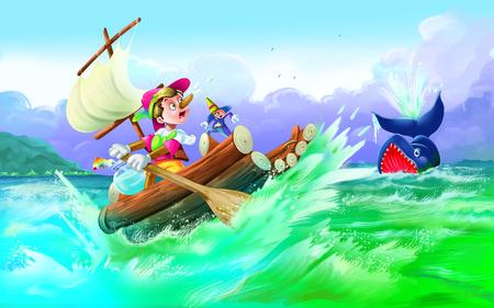 pinocchio: Whale Engulfing Pinocchio Stock Photo